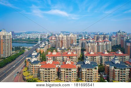 march3 2016 China: Guangzhou City Building in the morning taken from a high angle