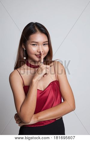 Asian Girl Smile Show Quite Hand Sign.