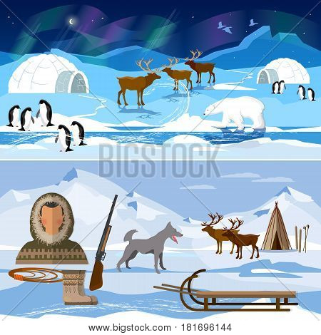 Extreme journey to Alaska. Life in the far north. Wild north arctic pople in traditional eskimos costume and arctic animals
