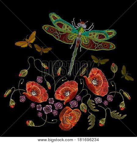 Embroidery poppies dragonfly and butterflies vector. Classic beautiful butterflies and dragonflies fashionable template for embroidery