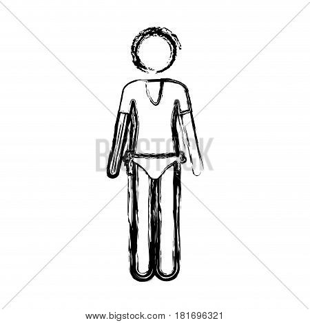 monochrome sketch pictogram of woman in t-shirt and thong vector illustration