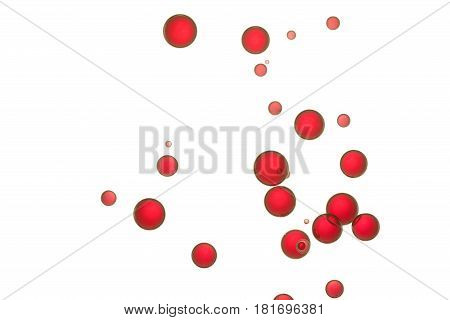 Red bubbles flows over a white background