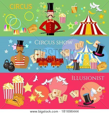 Circus banner performance magician strongman circus show magic tricks