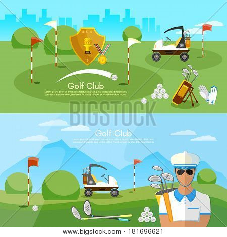 Golf club banner sports equipment for golf sport competitions golfing elements concept