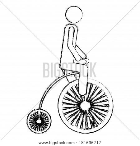 monochrome sketch pictogram of man in penny farthing vector illustration
