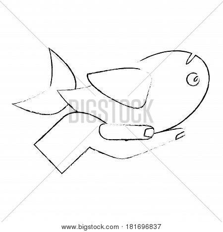 hand with fish food multiplication religious sketch vector illustration eps 10