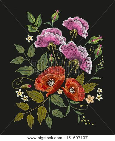 Flowers embroidery on black background. Decorative floral embroidery elegant flowers beautiful poppies vector