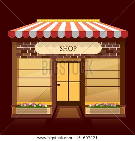 Shop building windows empty for your store product presentation or design vector cartoon