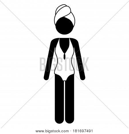 monochrome pictogram of woman in one piece swimsuit and towel in head vector illustration