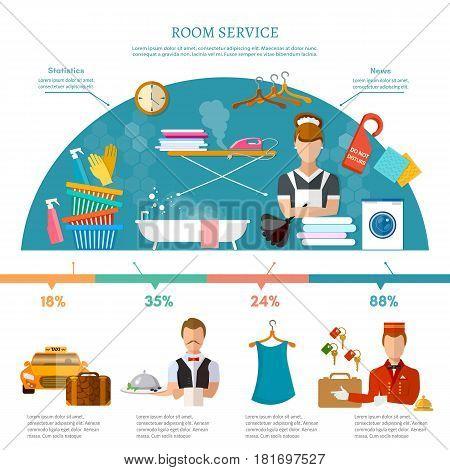 Hotel service infographics hotel staff reservation motel elements vector