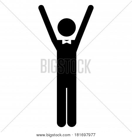 monochrome pictogram of waiter with extended arms vector illustration
