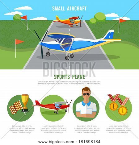 Sports plane air show. Infographics biplane aviation school flying school professional pilot competitions of airplanes and biplanes excursion flights