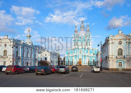 ST PETERSBURG, RUSSIA - APRIL 08, 2017: April day at Smolny Resurrection of Christ Cathedral