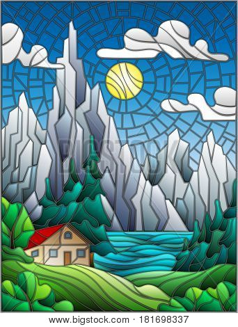 Illustration in stained glass style with a lonely house on a background of pine forests lakes mountains and day-Sunny sky with clouds