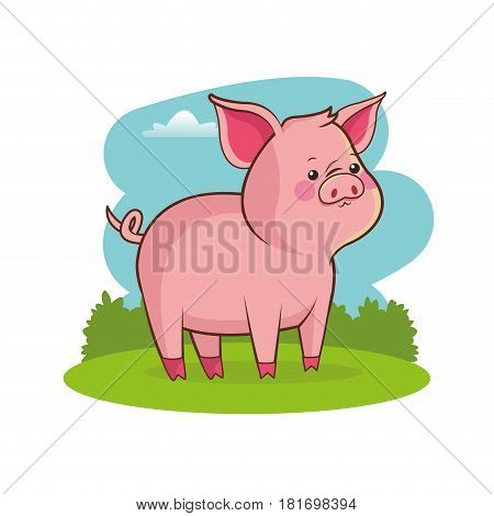 cute pig animal baby with landscape vector illustration eps 10