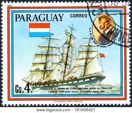 UKRAINE - CIRCA 2017: A postage stamp printed in Paraguai shows sailing ship Loch Etive and portrait of Prince Charles from the series Wedding of Prince Charles and Lady Diana Spencer circa 1981