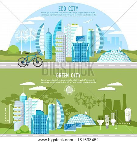 Eco city background urban landscape. Future energy solar panels windmills. Green city banner. Harmony of city and nature design template