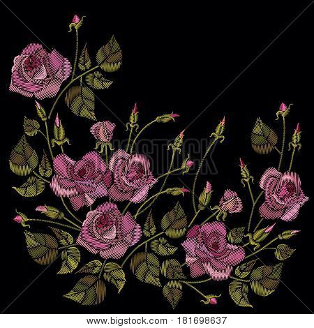 Roses embroidery on a black background. Classic style embroidery beautiful roses flowers pattern vector