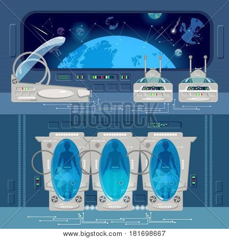 Astronauts in cryogenic camera deep space interior of interstellar ship. Space travel to other planets banner. Technologies of future colonization of Universe