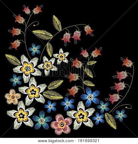 Beautiful camomiles cornflowers classical embroidery on black background fashionable template for design of clothes. Embroidery flowers concept