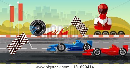 Racing cars on a start line formula car speeding. Car racing banner tyre drift on race circuit finish line motor