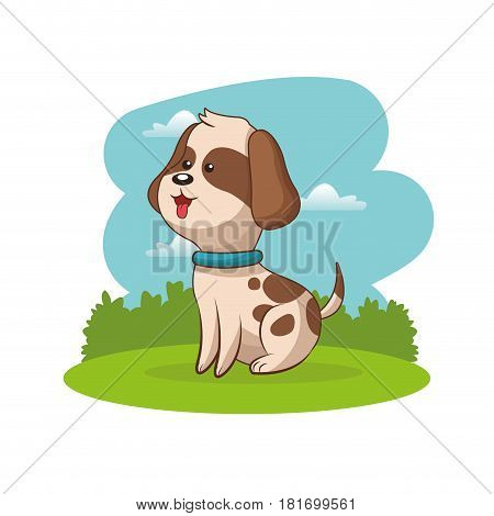 cute doggy animal baby with landscape vector illustration eps 10