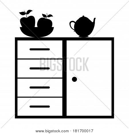 monochrome silhouette of kitchen shelf and drawers with tea kettle and fruits vector illustration
