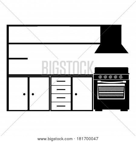 monochrome silhouette of modern kitchen cabinets with stove vector illustration