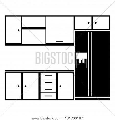 monochrome silhouette of modern kitchen cabinets with fridge vector illustration