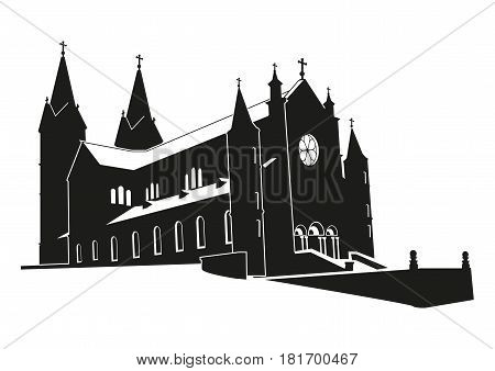 Church of the silhouette. Architectural icon. Vector illustration.