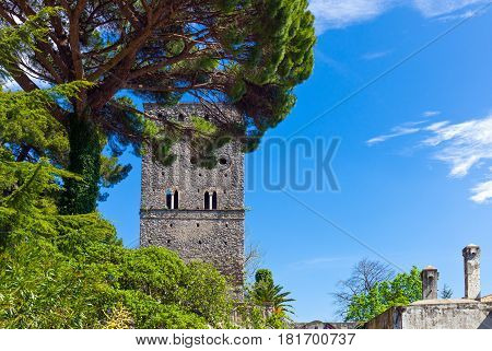 Italy, Amalfitana Coast, Ravello, view of the Torre of Villa Rufolo