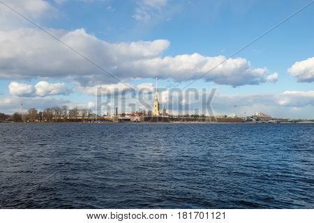 SAINT PETERSBURG, RUSSIA - APRIL 08, 2017: Panorama of the Neva river and the Peter and Paul fortress. Sunny April day. Saint Petersburg