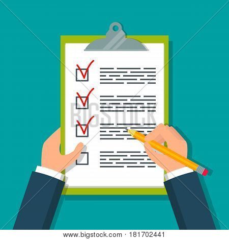 Hands holding clipboard with checklist and pencil. EPS10 vector illustration in flat style.