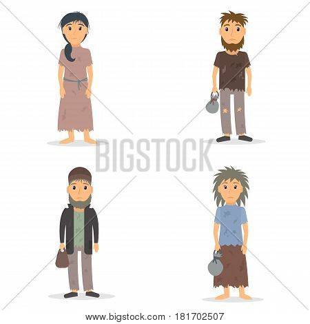 Homeless men and women set. Male and female beggar in rags collection. EPS10 vector illustration in flat style.