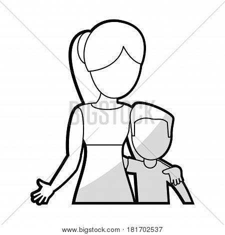 mother embrace son lovely vector illustration eps 10