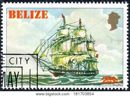 UKRAINE - CIRCA 2017: A postage stamp printed in Belize shows sailing ship Madagascar 1837 from the series Historic ships circa 1982