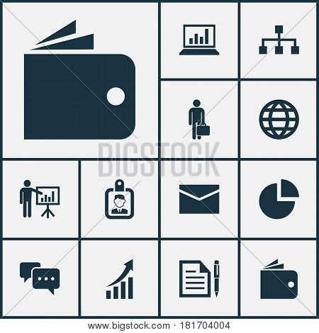 Trade Icons Set. Collection Of Diagram, Billfold, Hierarchy And Other Elements. Also Includes Symbols Such As Message, Page, Identification.