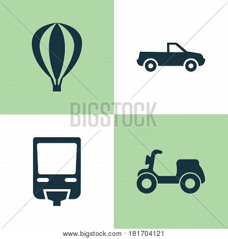 Transportation Icons Set. Collection Of Railroad, Airship, Cabriolet And Other Elements. Also Includes Symbols Such As Cabriolet, Moped, Pickup.