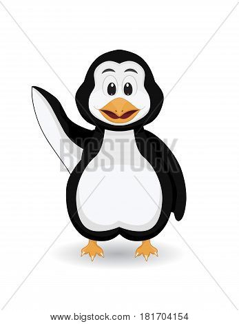 cartoon cute penguin waving say hallo smiling on white background