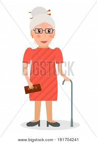 Old woman wearing glasses and with cane in flat style. EPS10 vector illustration of elderly woman character with walking stick.