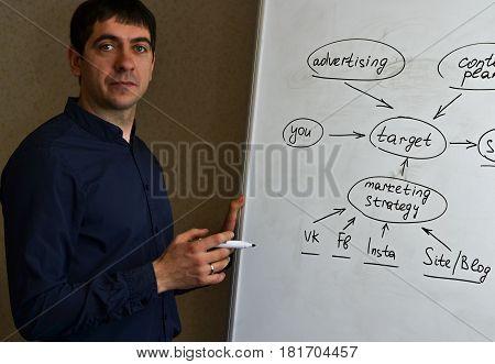 Executive man writing scheme on a flipchart