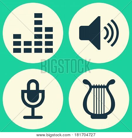 Multimedia Icons Set. Collection Of Lyre, Mike, Equalizer And Other Elements. Also Includes Symbols Such As Speaker, Microphone, Equalizer.