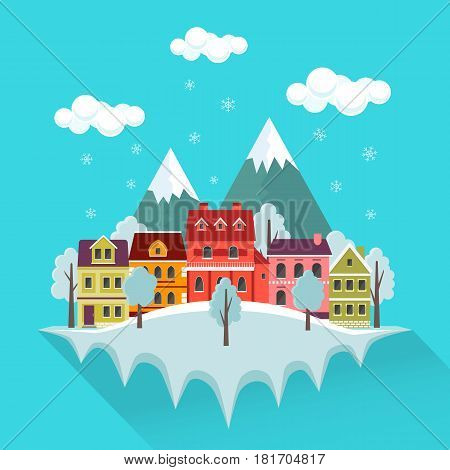 Winter cityscape with falling snow urban landscape with small cute houses and mountains. EPS10 vector illustration in flat style.
