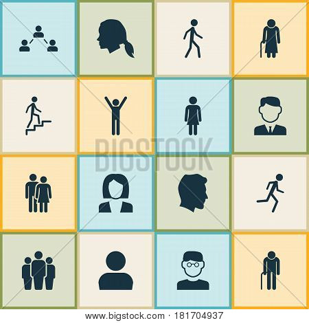Human Icons Set. Collection Of Ladder, Beloveds, Gentlewoman Head And Other Elements. Also Includes Symbols Such As Old, Jogging, Businessman.