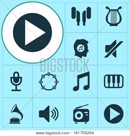 Audio Icons Set. Collection Of Phonograph, Octave, Timbrel And Other Elements. Also Includes Symbols Such As Phonograph, Play, Tuner.