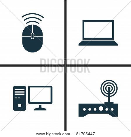 Computer Icons Set. Collection Of Router, Personal Computer, Computer Mouse And Other Elements. Also Includes Symbols Such As Computer, Router, Wifi.
