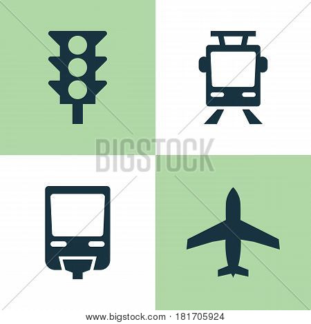 Transport Icons Set. Collection Of Railroad, Stoplight, Aircraft And Other Elements. Also Includes Symbols Such As Light, Railroad, Airplane.