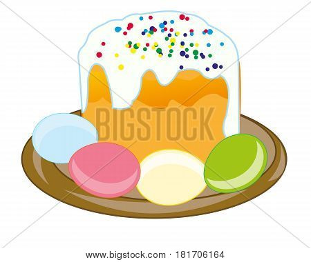 Festive cake and colour egg to orthodox holiday easter
