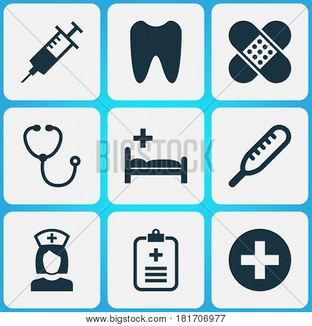 Drug Icons Set. Collection Of Plus, Injection, Ache And Other Elements. Also Includes Symbols Such As Temperature, Data, Device.