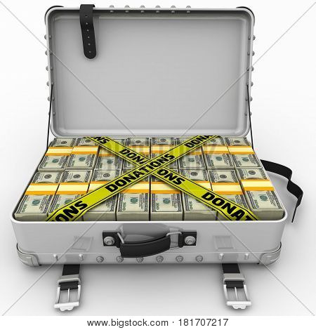 Donations. Suitcase filled with packs of American dollars and yellow tapes with text